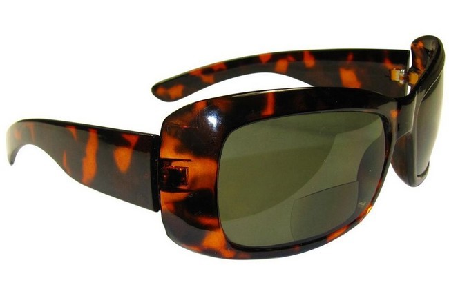BF4 bifocal wrap-around sunreading glasses with lower reading lens and plain upper lens