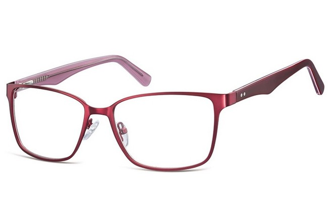 BL8 blue light filter burgundy stainless steel frame prescription computer glasses
