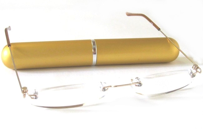 CTG type gold rimless cigar tube reading glasses gold cigar tube container with slide-on top