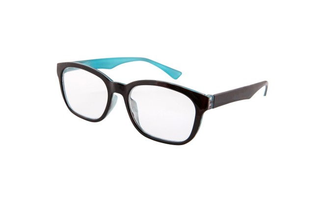 FA3 black and sky blue framed acetate readers