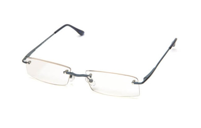 FLB blue framed rimless eyeglasses