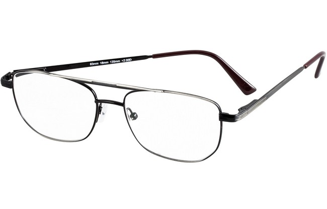 Type FRW aviator style reading glasses in metallic antique silver frame