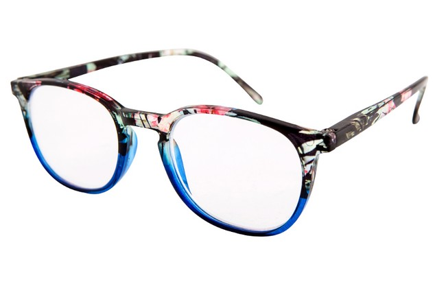 FW1 acrylic floral reading glasses in black and pink aqua