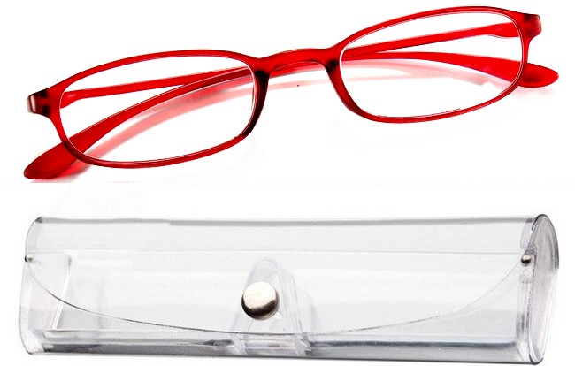 FX2 rimless flexible eyeglasses with red bridge-arms and free tranparent case