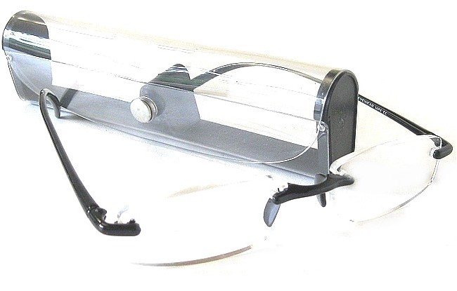 FXK rimless flexible eyeglasses with black bridge-arms and free tranparent case