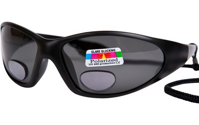 Type PBG grey polarised fishing glasses with lower reading lens and plano upper lens section