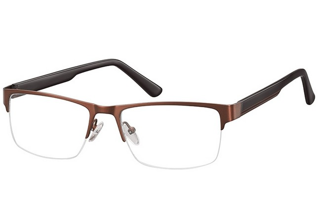 PRC semi-rimless brown frame