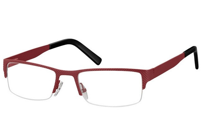 PRD burgundy half rim framed reglazable glasses