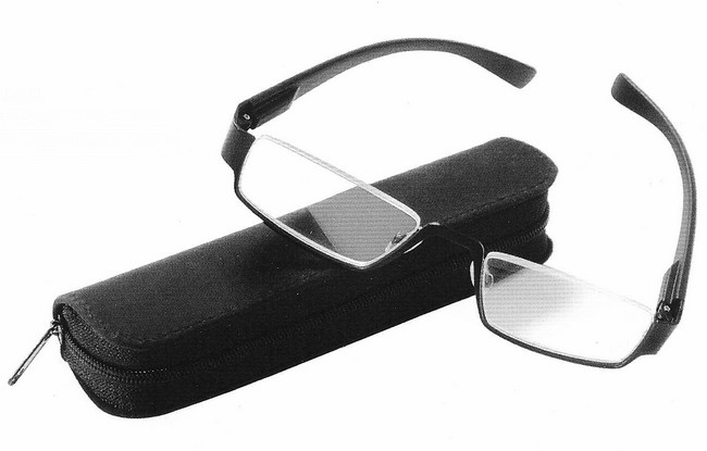 Sporty PRP partial rim reading glasses with black metallic frame and black zip case