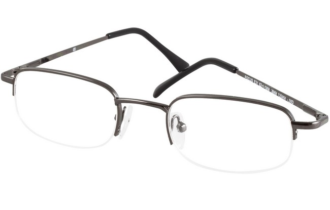 Type RGS partial rim reading glasses with gunmetal frame.