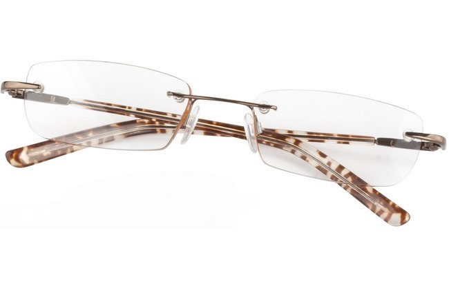 RLV rimless eyeglasses with tortoiseshell crystal arms and metallic gold frame