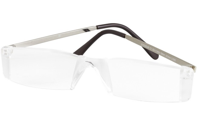 RLZ rimless eyeglasses with tranparent bridge and silver arms