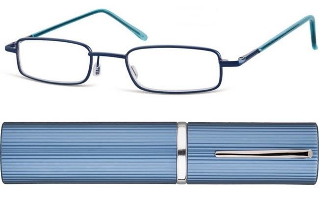 TCB blue full rim frame and blue corrugated metallic tube with pocket clip