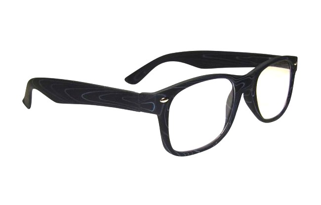 WF4 black wood-effect full rimmed frame